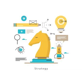 Planificación estratégica y estrategia de negocios de diseño vectorial ilustración vectorial. éxito en los negocios, liderazgo, diseño de gestión empresarial para gráficos móviles y web