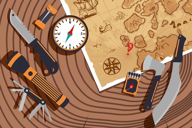 Planificación de expedición para descubrir nuevas tierras. mapa antiguo, brújula, cuchillo y linterna en la textura del tocón de árbol. exploración mundial, aventuras de viaje