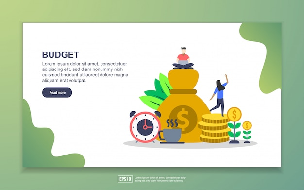 Planificación financiera y dinero para la página de inicio de negocios.