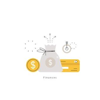 Planificación financiera, planificación presupuestaria, banca, inversiones financieras, negocios y finanzas ilustración vectorial plana ilustración para móviles y gráficos web