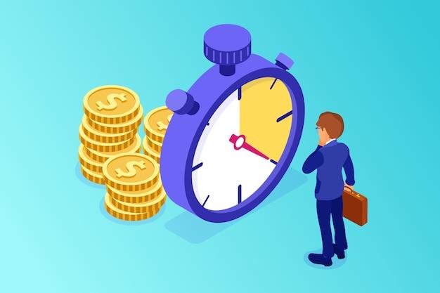Planificación y gestión con cronómetro e ilustración de dinero.