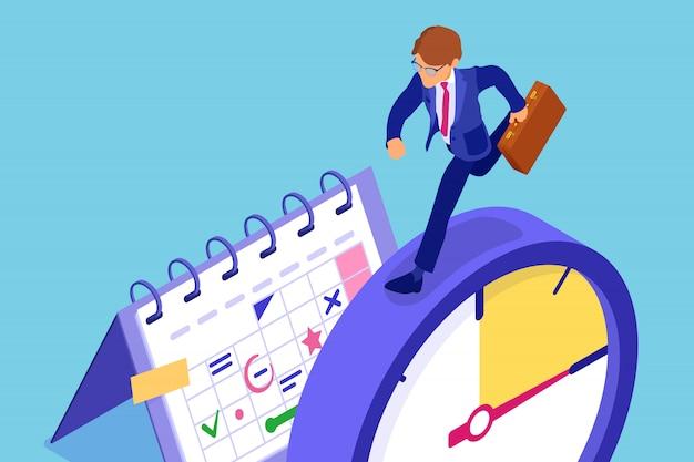 Planificación de la gestión del tiempo del programa con el calendario del cronómetro y el empresario con el maletín de prisa antes de la fecha límite, el negocio de la infografía isométrica aislado