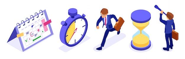 Planificación de la gestión del tiempo de programación con calendario de programación de cronómetro y empresario de reloj de arena con maletín y catalejo para nuevas oportunidades. fecha límite tiempo negocio isométrico aislado vector