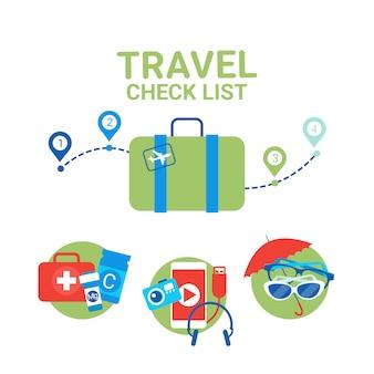 Planificación de la maleta de vacaciones con artículos de embalaje concepto de lista de verificación de planificación