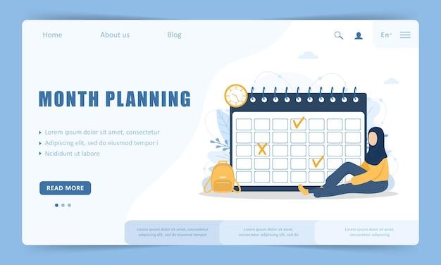 Planificación mensual o concepto de lista de tareas pendientes. plantilla de página de destino del sitio web.