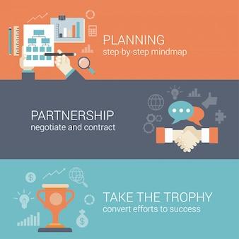 Planificación de negocios de estilo plano, asociación y resultados de éxito procesan concepto de infografía.