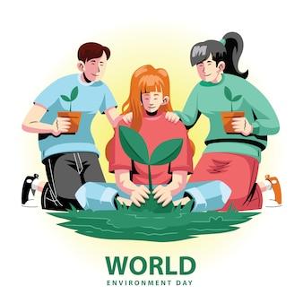 Planificación de la planta para el día mundial del medio ambiente