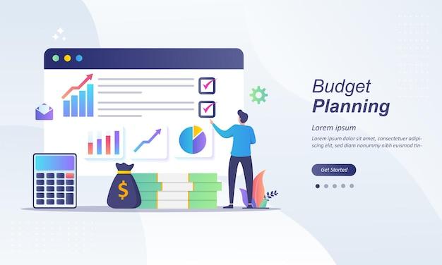 Planificación presupuestaria, analista financiero en lista de verificación en papel