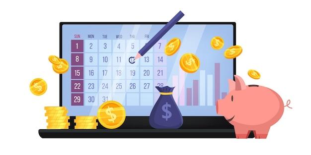 Planificación presupuestaria o concepto financiero de auditoría empresarial con ordenador portátil, calendario, hucha, monedas de dinero.