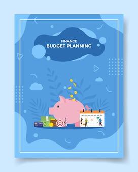 Planificación presupuestaria personas frente calendario alcancía dinero billetera tarjeta de crédito objetivo para plantilla