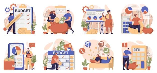 Planificación del presupuesto financiero colección de escenas aisladas las personas mantienen la gestión financiera de la contabilidad