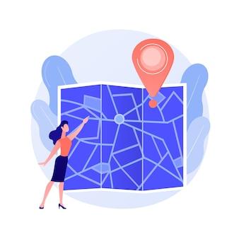 Planificación de rutas de viaje. viajes por la ciudad, turismo urbano, idea de cartografía. chica navegando con personaje de dibujos animados de mapa de papel. herramienta de orientación antigua.