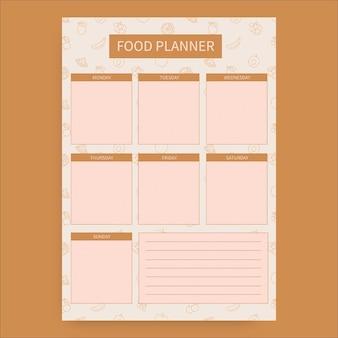 Planificador de alimentos de frutas de patrón minimalista