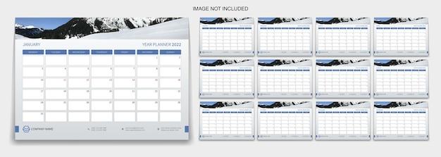 Planificador de año 2022 diseño de plantilla o calendario de escritorio 2022 diseño de plantilla