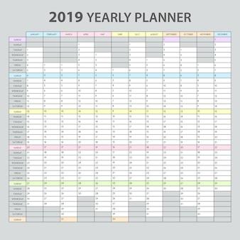 Planificador anual 2019 plantilla imprimible realista para citas de oficina, tareas, gestión, resumen, calendario
