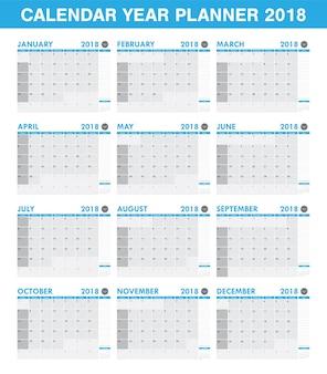Planificador de calendario año simple 2018 conjunto de todos los meses