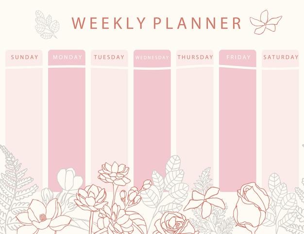 Planificador de calendario de flor rosa con rosa, jazmín, hojas. se puede utilizar para imprimir, álbum de recortes, diario