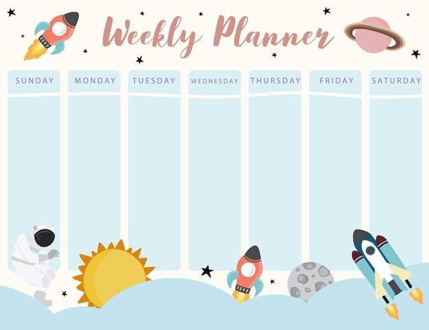Planificador de calendario galaxy con planeta