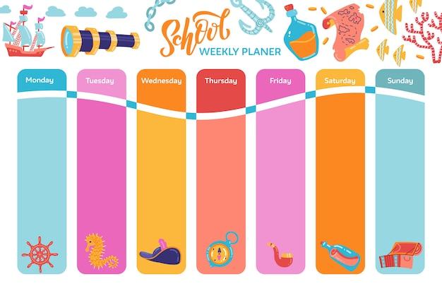 Planificador de calendario semanal brillante, horario escolar con símbolos de aventura.