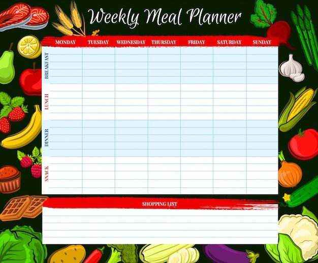 Planificador de comidas semanal, diario del plan de la semana de alimentos vectoriales