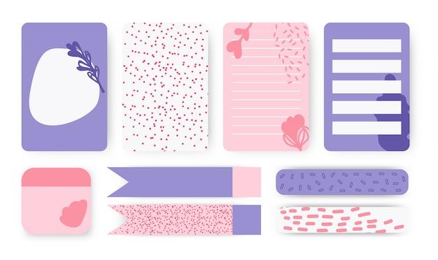Planificador cuaderno página pegatina cinta adhesiva conjunto de vectores