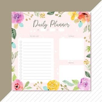 Planificador diario con flores marco de fondo de acuarela