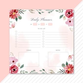 Planificador diario con hermosas flores en acuarela