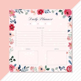 Planificador diario con hermoso marco floral de acuarela