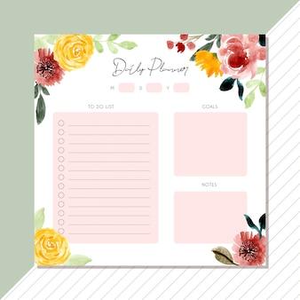 Planificador diario con hermoso marco floral acuarela