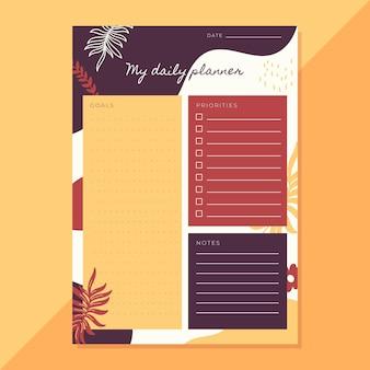 Planificador diario con hojas abstractas