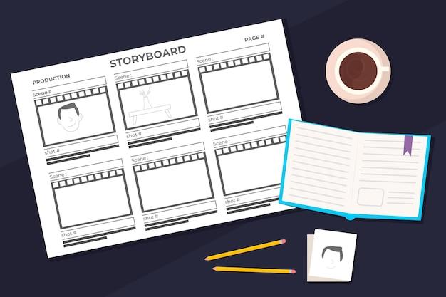 Planificador diario de storyboard y café.