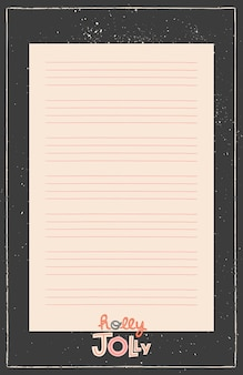 Planificador imprimible de marco negro, organizador. notas ornamentales de invierno dibujadas a mano, tareas pendientes y lista de compras.