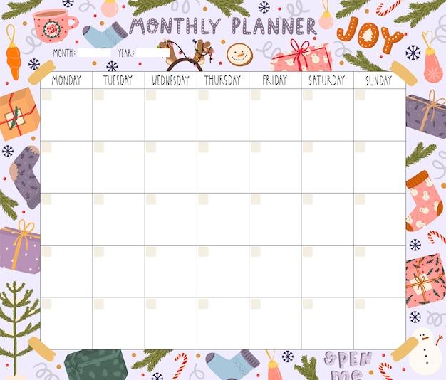 Planificador mensual en blanco con tema navideño