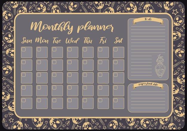 Planificador mensual para el diseño de la plantilla de notas de la lista de tareas pendientes de halloween fechas importantes