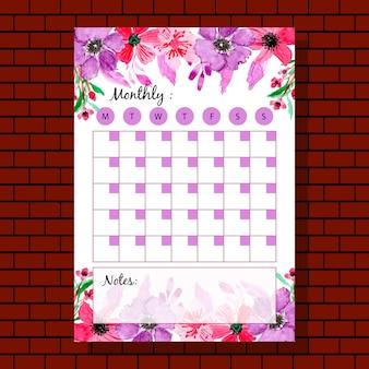 Planificador mensual de flor púrpura rojo acuarela