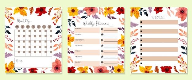Planificador mensual floral acuarela