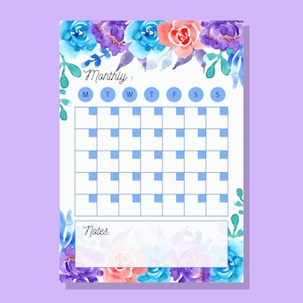 Planificador mensual púrpura azul con flores de acuarela