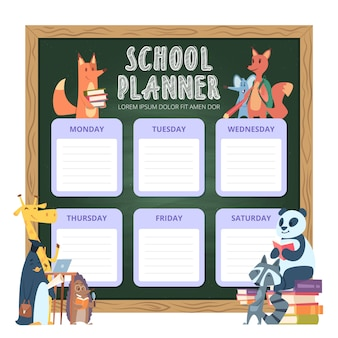 Planificador para niños. organización de la lista personal de la escuela para la semana ilustraciones divertidas de animales de dibujos animados