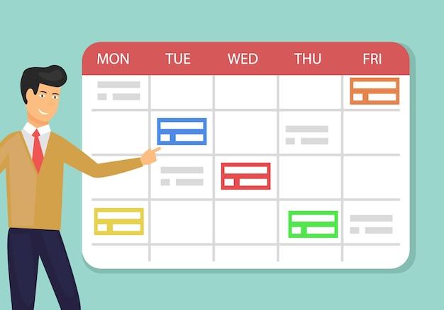 Planificador planificador concepto planificación semana laboral.