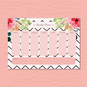Planificador semanal con acuarela floral y patrón de chevron