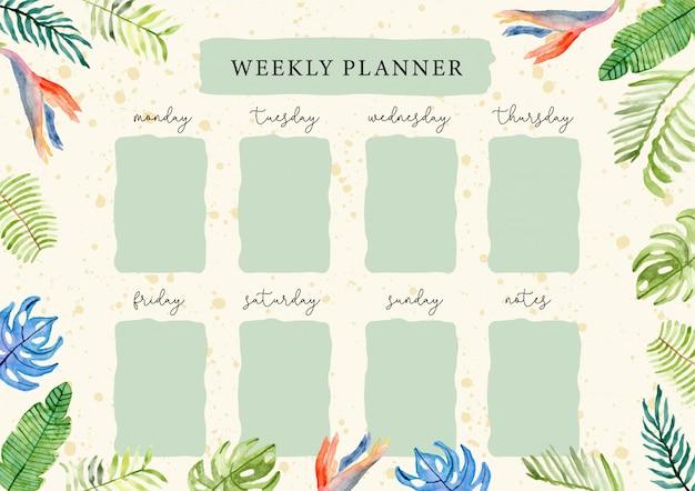 Planificador semanal con acuarela tropical de verano tropical.