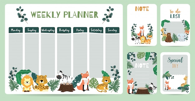 Planificador semanal animal lindo
