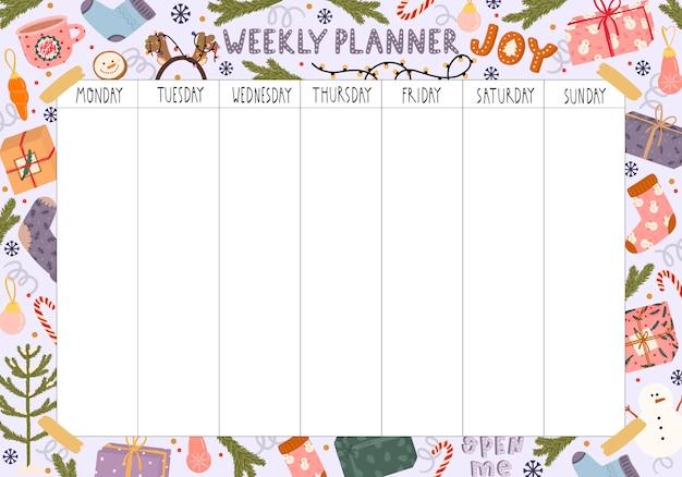 Planificador semanal en blanco con tema navideño
