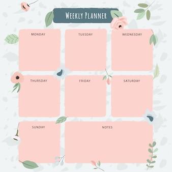 Planificador semanal con bonitas flores