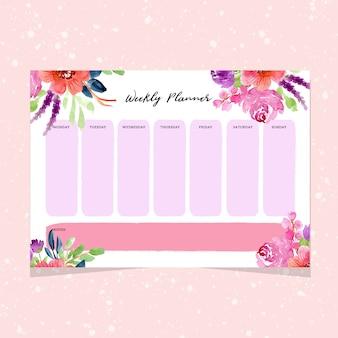 Planificador semanal con bordes florales de acuarela.