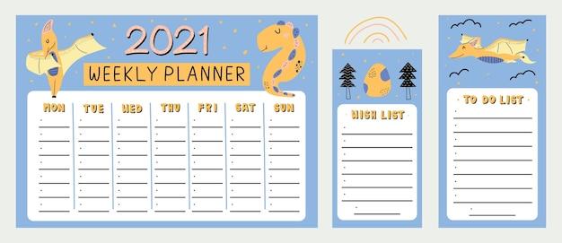 Planificador semanal de dinosaurio