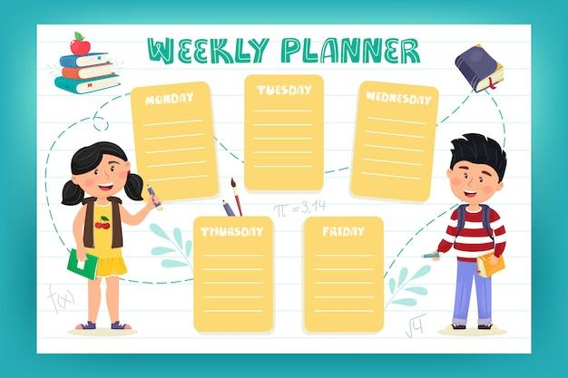 Planificador semanal para escolares. ilustración en estilo plano de dibujos animados. de vuelta a la escuela.