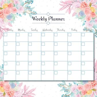 Planificador semanal de estudiantes con un hermoso fondo floral de acuarela