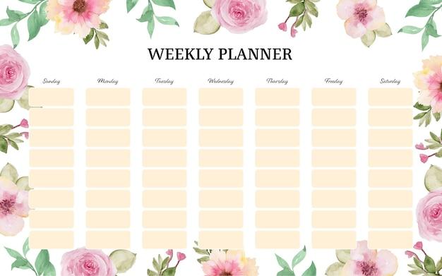 Planificador semanal floral de acuarela bastante rosa