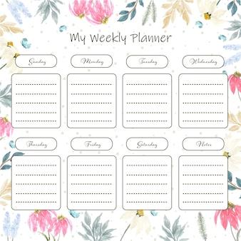 Planificador semanal floral con hermosa margarita acuarela